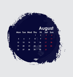 august 2019 calendar templatestarts from monday vector image