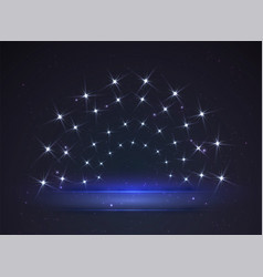 banner lit stars glowing stage for your vector image