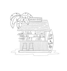 beach bar with palm tree with cocktails and surf vector image