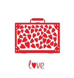 Big red suitcase with hearts Isolated vector image