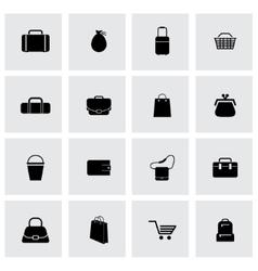 black bag icons set vector image