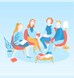 Book club meeting library education vector