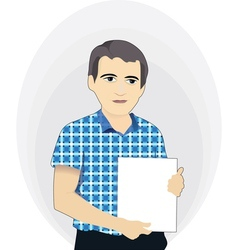 Businessman holding a blank poster vector image
