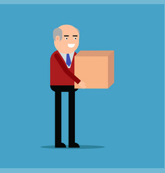 Businessman is carrying a box vector