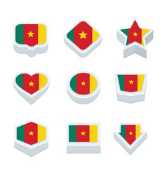Cameroon flags icons and button set nine styles vector