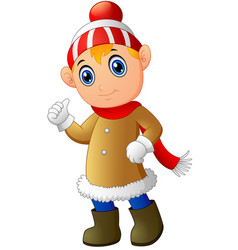 cartoon christmas elf giving thumbs up vector image