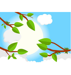 Cartoon sunset day flat trees leaf sun clouds vector