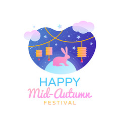 Chinese mid autumn festival template design happy vector
