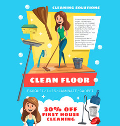 Cleaning service house and floor clean vector