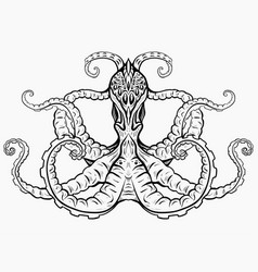 contour black and white of octopus vector image