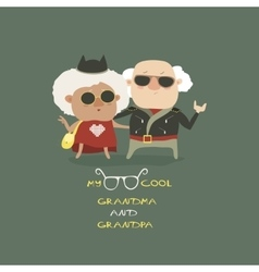 Cool grandma and grandpa wearing in leather jacket vector image