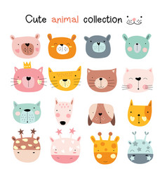 cute baby animal with face cartoon hand drawn vector image