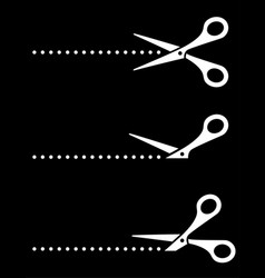 cutting scissors icons and points on black vector image