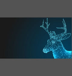 deer head 3d animal abstract wirframe polygon vector image