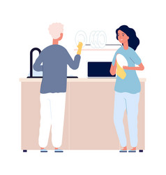 Dish washing family after dinner man woman vector