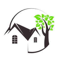 eco house and tree vector image