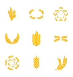 Elements with wheat icons set cartoon style vector