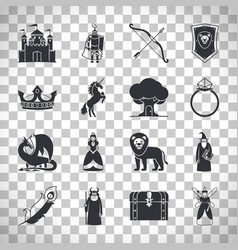 Fairytale icons on transparent background vector