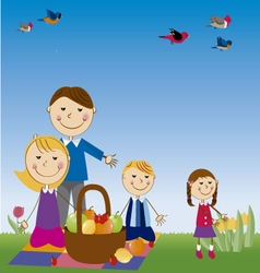 Family in picnic vector