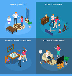 Family problems isometric design concept vector