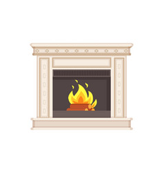 Fireplace with classic ornaments and columns icon vector
