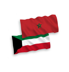 Flags morocco and kuwait on a white background vector