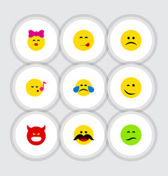 flat icon gesture set of sad frown cheerful and vector image