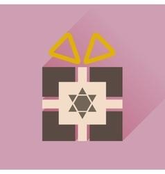 Flat icon with long shadow Hanukkah gift vector