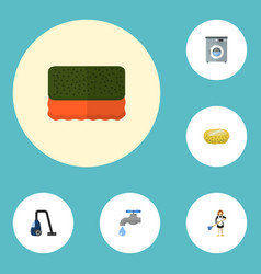 Flat icons faucet wisp sweeper and other vector