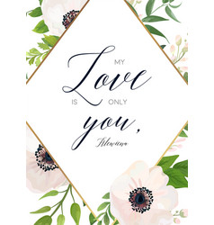Floral card design with white pink anemone flower vector