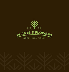 flower shop logo or landscape design emblem vector image