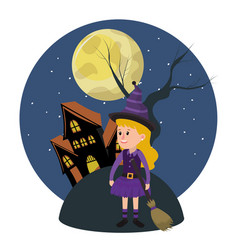 Girl with witch costume and horror castle vector