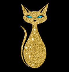 golden cat with sapphire eyes vector image
