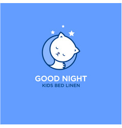 Good night logo bed linen and stuff for sleep vector