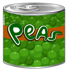 Green peas in aluminum can vector