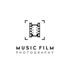 guitar film stripes lens music movie photo logo vector image