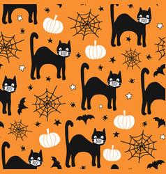 halloween 2020 coronavirus pattern black cat vector image