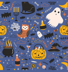 Halloween seamless pattern with funny spooky magic vector