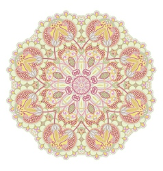 Hand draw floral circle ornament ornamental round vector