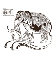 Hand-drawn mehendi elephant Ethnic african vector
