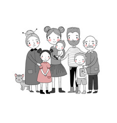Happy family parents with children cute cartoon vector