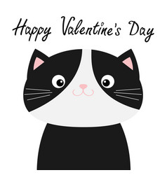 happy valentines day black and white cat head vector image