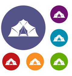 Hiking and camping tent icons set vector
