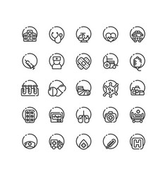 hospital outline icon set vector image