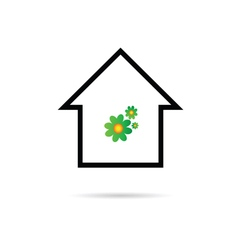 house with flower color vector image