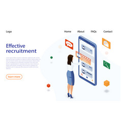 Isometric hiring and recruitment concept job hr vector