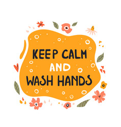 keep calm and wash hands lettering text vector image