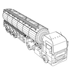 large truck tanker with trailer isolated on grey vector image