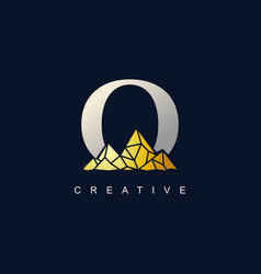 letter o with golden mountain logo de vector image