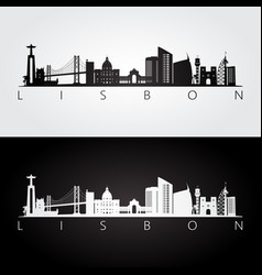 lisbon skyline and landmarks silhouette vector image